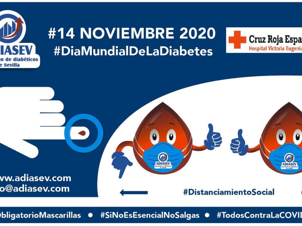 Cartel editado por ADIASEV, en el #14-NOVIEMBRE-2020 #DiaMundialdelaDiabetes.